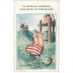 carte postale ancienne HUMOUR. Le Plongeon d'un obèse 1928 par Donald Mac Gill