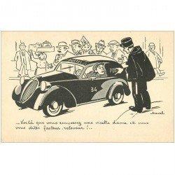 carte postale ancienne HUMOUR. Le Policier et le Chauffeur des Postes par Cheval