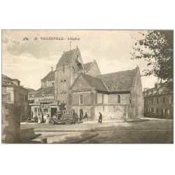 carte postale ancienne 14 VILLERVILLE. Autocar devant le Kiosque Le Journal