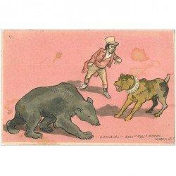 carte postale ancienne HUMOUR. L'Ours moscovite contre le Chien Mikado