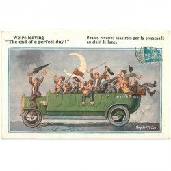 carte postale ancienne HUMOUR. Tous bourrés sur voiture camionnette 1922 par Gill