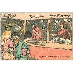 carte postale ancienne HUMOUR. Vendeurs d'armes Japon Russie et Angleterre