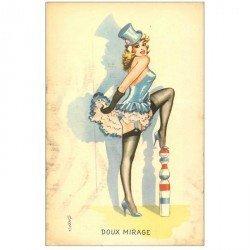 carte postale ancienne Jolie Pin-Up sexy sur quille. Doux mirage. Plissure