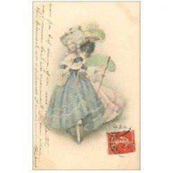 carte postale ancienne LA MODE. Superbe femme avec et sans son loup 1907 habit et coiffure du XIX siècle