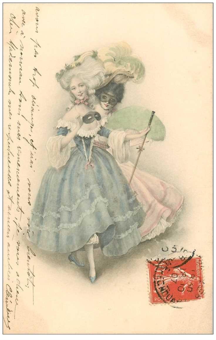 La Mode Superbe Femme Avec Et Sans Son Loup 1907 Habit Et Coiffure