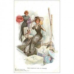 carte postale ancienne LA MODE. The American Girl in France essayage de chapeaux
