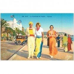 carte postale ancienne MODE. Les Pyjamas à Nice par Adia sur la Promenade des Anglais