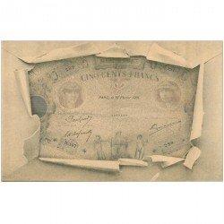 carte postale ancienne FANTAISIE. Carte montage avec éclatement d'une enveloppe sur un Billet de 500 Francs vers 1900