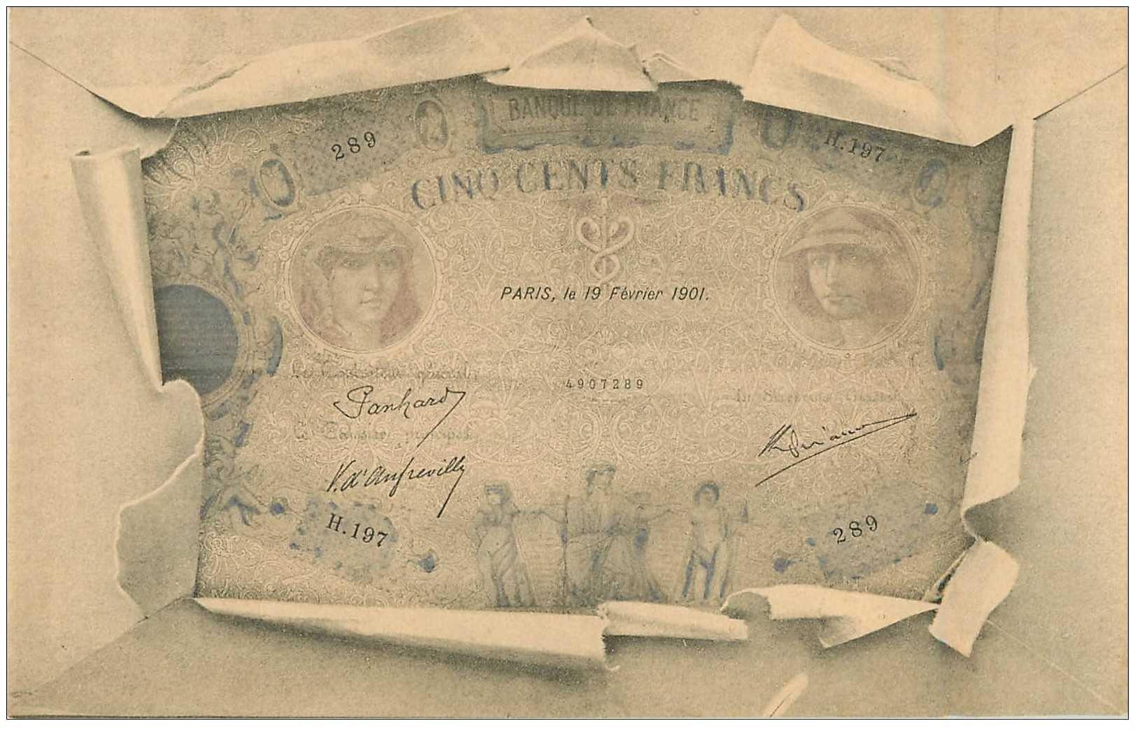 carte postale ancienne billet 500 francs
