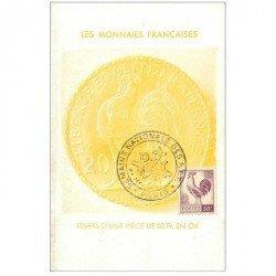 carte postale ancienne Les Monnaies Françaises. Revers d'une pièce de 20 fr en Or. Timbrée et oblitération premier jour