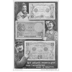 carte postale ancienne THEME MONNAIES. Billets cinq, dix et vingt Francs pour Militaires 1916 Pour venir en aide aux Soldats