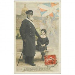carte postale ancienne AU DRAPEAU. Vétéran Militaire et écolier 1911. Révolutionnaire en surimpression...