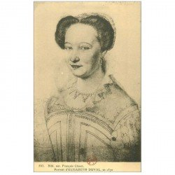 carte postale ancienne Biblothèque Clouet. ELISABETH DUVAL