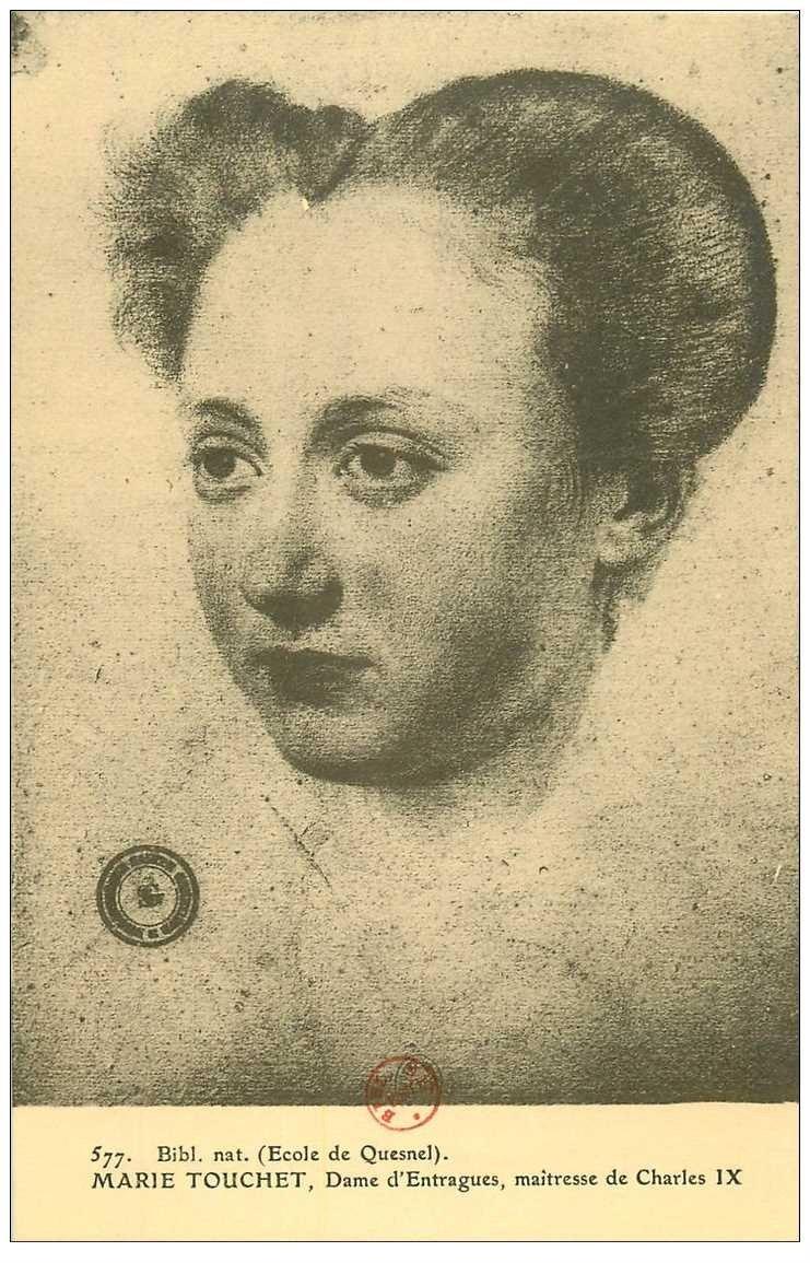 carte postale ancienne Biblothèque Clouet. Marie TOUCHET Dame d'Entragues maîtresse de Charles IX