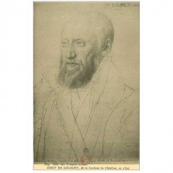 carte postale ancienne Biblothèque Clouet. ODET DE COLIGNY. Cardinal de Chtillon