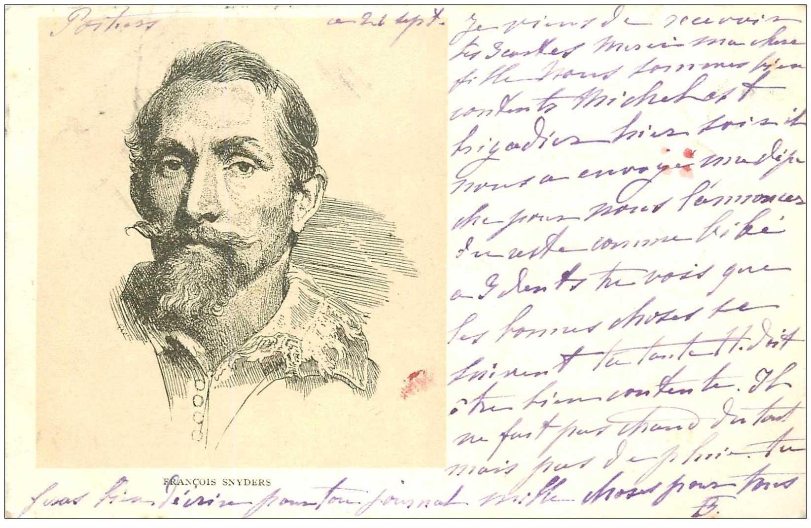 carte postale ancienne Carte Précurseur 1899. Artistes Peintres. François Snyders 1899 une fine ridule...