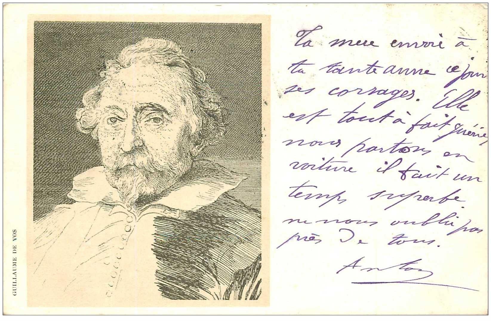 carte postale ancienne Carte Précurseur 1899. Artistes Peintres. Guillaume de Vos 1899