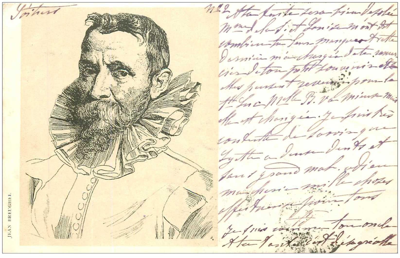 carte postale ancienne Carte Précurseur 1899. Artistes Peintres. Jean Breughel 1899