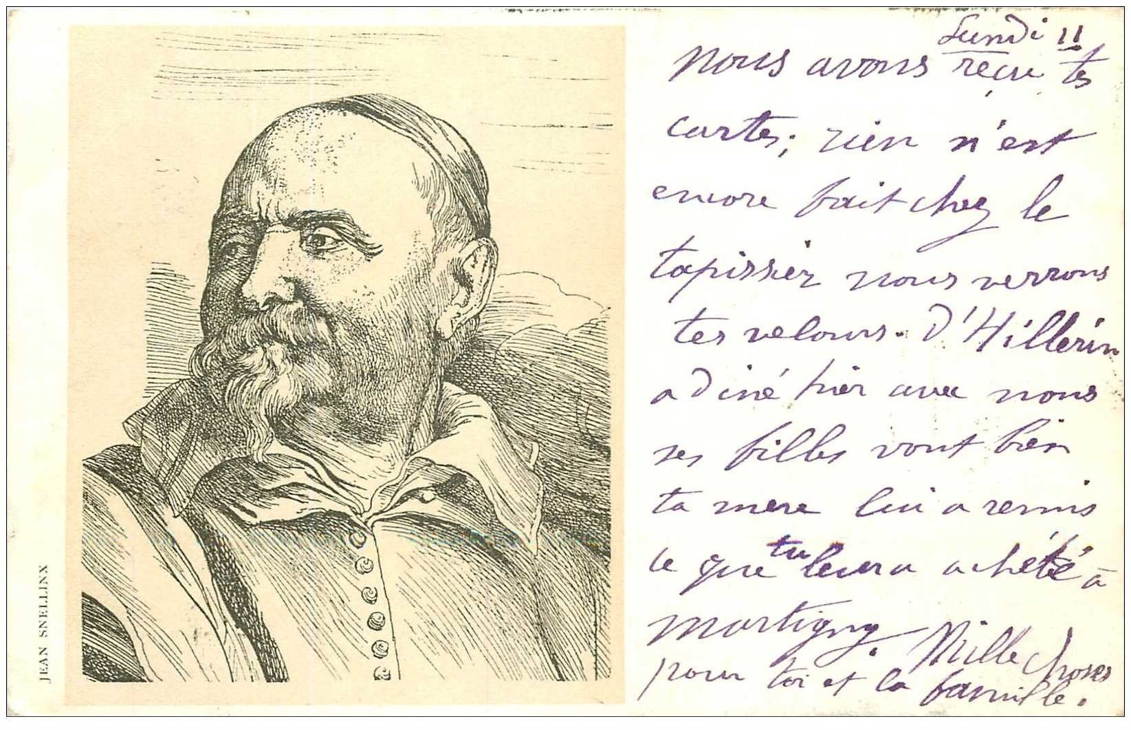 carte postale ancienne Carte Précurseur 1899. Artistes Peintres. Jean Snellinx 1899