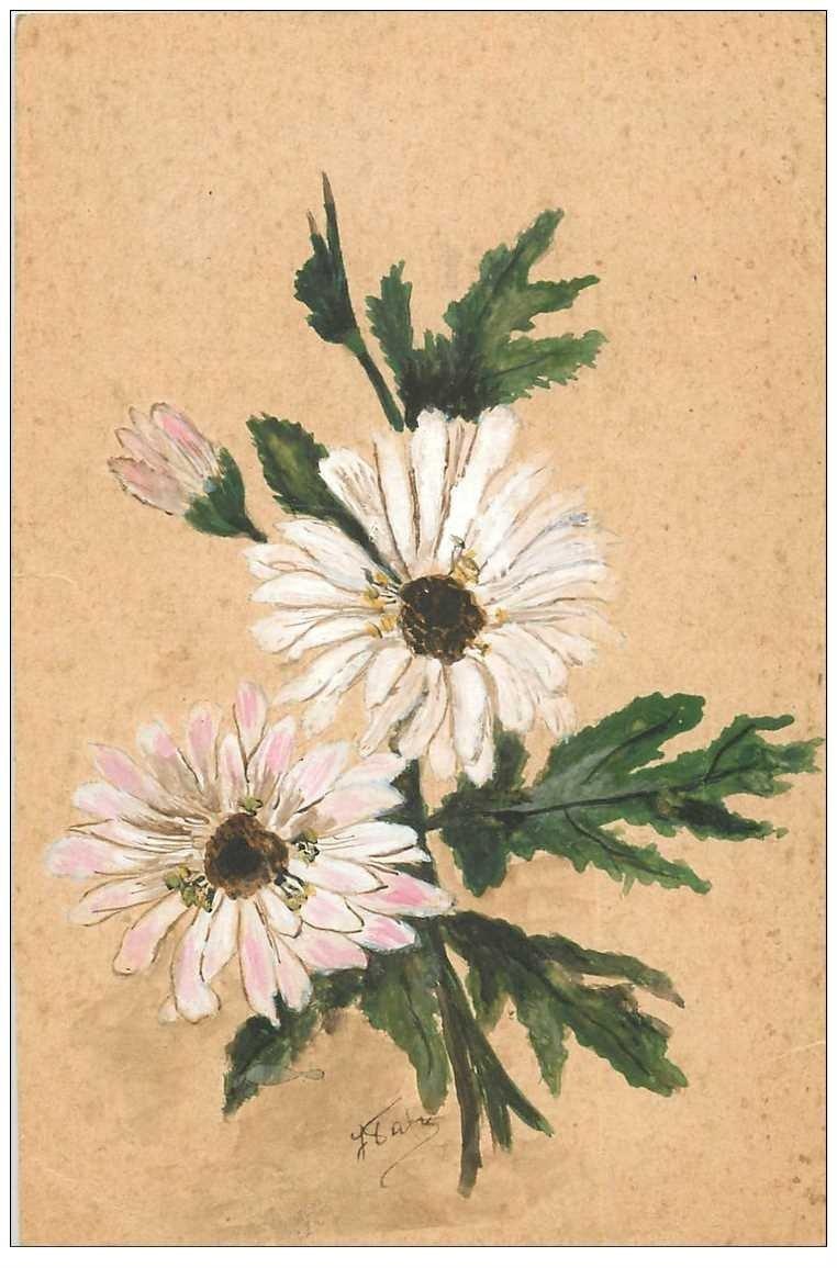 carte postale ancienne Carte Fleurs marguerites peintes à la main avec signature 1939