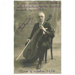 carte postale ancienne MUSIQUE ET MUSICIEN. Dubreuil Contrebassiste. Carte Photo 1936 adressée à Cantrel