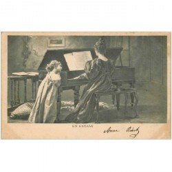 carte postale ancienne MUSIQUE ET MUSICIENS. La Pianiste, en extase. Timbre 1 centime 1902 verso vierge