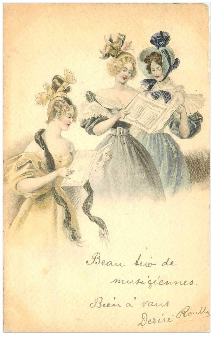 carte postale ancienne MUSIQUE ET MUSICIENS. Trio Musiciennes Chanteuses. Papier velin bords dentelés 1904