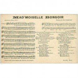 carte postale ancienne MUSIQUE. Partition de Mad'moiselle Bonsoir par Mercier