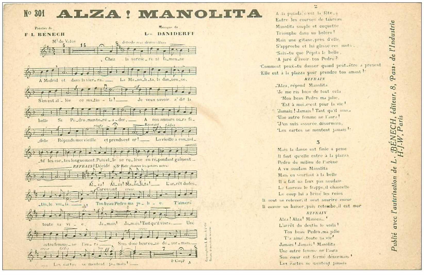 carte postale ancienne PARTITION PAROLES ET MUSIQUES. Alza Manolita Daniderff