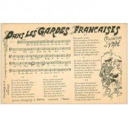 carte postale ancienne PARTITION PAROLES ET MUSIQUES. Dans les Gardes Françaises Vadé
