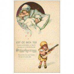 carte postale ancienne PARTITION PAROLES ET MUSIQUES. Est ce bien toi. Dommel Desmoulins