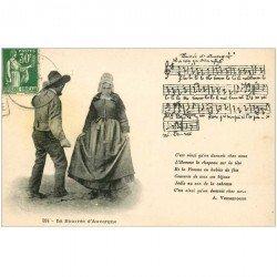 carte postale ancienne PARTITION PAROLES ET MUSIQUES. La Bourrée d'Auvergne