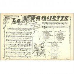 carte postale ancienne PARTITION PAROLES ET MUSIQUES. La Kraquette par Joullot