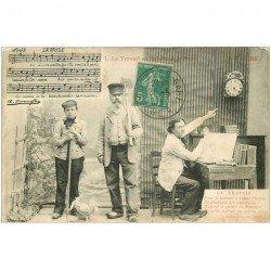 carte postale ancienne PARTITION PAROLES ET MUSIQUES. La Muse le travail en sabot 1911