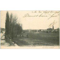 carte postale ancienne 02 SAINT-MICHEL. Panorama et agriculteurs 1906
