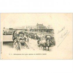 carte postale ancienne SPECTACLE LE CIRQUE. Barnum et Bailey déchargement des Trains spéciaux 1902