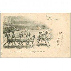 carte postale ancienne SPECTACLE LE CIRQUE. Barnum et Bailey. Course de Chars romains avec Chevaux n° 4 vers 1900