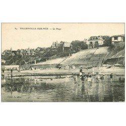carte postale ancienne 14 VILLERVILLE-SUR-MER. Jeunes chercheurs de crevettes sur la Plage