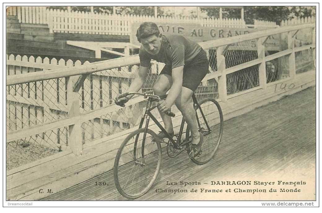 carte postale ancienne Sports Cyclisme et vélo. DARRAGON. Stayer Français. Champion de France et du Monde