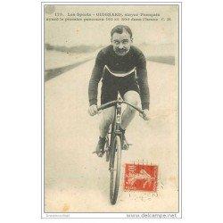 carte postale ancienne Sports Cyclisme et vélo. GUIGNARD. Stayer Français 1911. Recordman de l'Heure