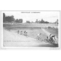 carte postale ancienne Sports Cyclisme. Course de bicyclettes sur Piste 1910. Chocolat Lombart. Edition Pécaud