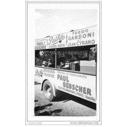carte postale ancienne Cycliste et Cyclisme. Camion publicitaire Paul Beuscher Disques Pathé. Tour de France...