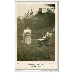 carte postale ancienne SPORTS. Tennis. Advantage. Carte photo coquine fantaisie 1907