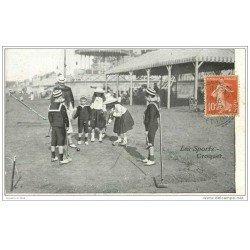 carte postale ancienne LES SPORTS. Le Croquet 1910