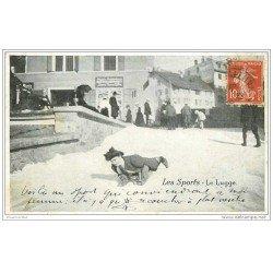 carte postale ancienne LES SPORTS. La Luge 1912