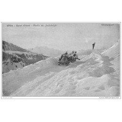 carte postale ancienne SPORTS D'HIVER. La Luge à quatre ou Bobsleigh 1914 La Combe