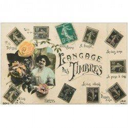 carte postale ancienne Le Langage des Timbres 1911 carte émaillographie