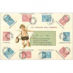 carte postale ancienne Le Langage des Timbres avec Angelot Facteur. Qq ridules