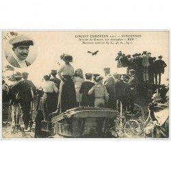 carte postale ancienne AVIATION. 1911 Vincennes 94. Arrivée Pilote Gilbert sur Monoplan REP Aéroplane et Circuit