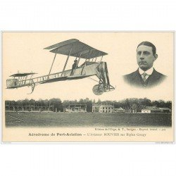 carte postale ancienne AVIATION. Aérodrome de Port-Aviation 91. Aviateur Bouvier sur Biplan Goupy. Aéroplane et Avion